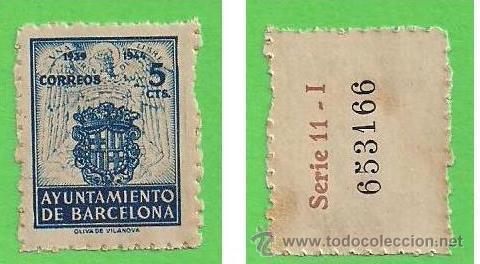 EDIFIL 56 - BARCELONA - ESCUDO NACIONAL DE LA CIUDAD. (1944).** NUEVO VER DESCRIPCIÓN. (Sellos - España - Estado Español - De 1.936 a 1.949 - Nuevos)