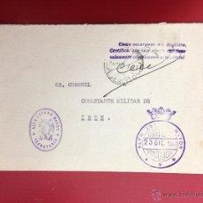 Sellos: CARTA AL COMANDANTE MILITAR DE IRUN 1947 MATASELLOS DEL EJERCITO ALTO ESTADO MAYOR FRANQUICIA. Lote 49886413