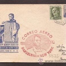 Sellos: *** SOBRE PRIMER DÍA 1º VUELO BARCELONA-NEW YORK 1948 CIRCULADO ***. Lote 49992300