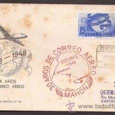 Sellos: *** PRECIOSO SOBRE PRIMER VUELO DE MAHON A BARCELONA 1949, CIRCULADO ***. Lote 50199704