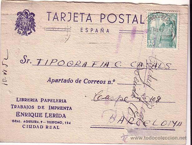 F11-11-TARJETA POSTAL CARTÓN CIUDAD REAL- BARCELONA 1952 (Sellos - España - Estado Español - De 1.936 a 1.949 - Cartas)