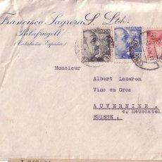 Sellos: F11-11- CARTA PALAFRUGELL- SUIZA 1941. CENSURA BARCELONA. Lote 50751669
