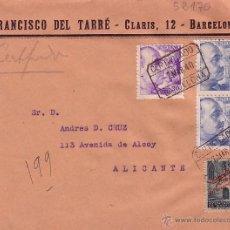 Sellos: F11-37-CARTA CERTIFICADO BARCELONA -ALICANTE 1940. DORSO LACRE Y LLEGADA. Lote 50765685