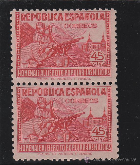 ESPAÑA . Nº EDIFIL 795 N (2) ** VARIEDAD A.000.000 AL REVERSO - MILICIAS - 1938 NUEVO SIN SEÑAL . (Sellos - España - Estado Español - De 1.936 a 1.949 - Nuevos)