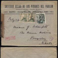 Sellos: CARTA 1941 MADRID-BRUSELAS DOBLE CENSURA. Lote 51088592