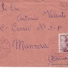Sellos: F12-20- CARTA AGUILAR DE SEGARRA (BARCELONA)- MANRESA 1949. FRANCO FECHADOR VIOLETA. Lote 51374402