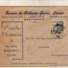 Sellos: SOBRE SUCEDOR DE CALDERÓN GARCÍA, LICORES. SANTANDER. PONCHE MONTAÑES. . Lote 51577513