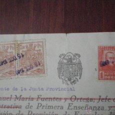Sellos: 1940 SELLOS 1 PTA HUERFANOS MAGISTERIO POLIZAS 7,5 PTS EN TITULO MAESTRA NIÑAS TODOLELLA (CASTELLON). Lote 52435833