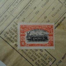 Sellos: RENFE. LINEA ALICANTE- ALMANSA. 1947. RESGUARDO, CON POLIZA HUERFANOS FERROVIARIOS. 10 CENTIMOS.. Lote 52879948