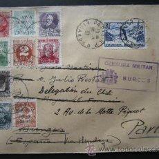 Sellos: SOBRE CIRCULADO CON LA SERIE DE SELLOS COMPLETA DE BURGOS. CENSURA MILITAR. AÑO 1937, GUERRA CIVIL. Lote 52965333