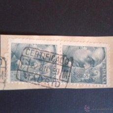 Sellos: EDIFIL 925. FRAGMENTO CON MATASELLOS CERTIFICADO DE MADRID. 1939. . Lote 53055808