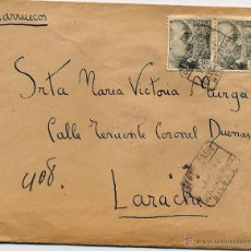 Sellos: CARTA CERTIFICADA DE BILBAO 27 OCT. 1942 A LARACHE (MARRUECOS). RARO MATASELLOS GUARDIA NOCTURNA. Lote 53058386