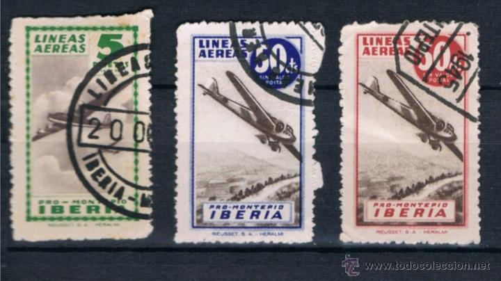 3 VIÑETAS PRO MONTEPIO IBERIA LINEAS AEREAS. USADOS (Sellos - España - Estado Español - De 1.936 a 1.949 - Usados)