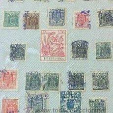 Sellos: CIRCA 1940. HOJA CON 56 PÓLIZAS DIFERENTES DE LA ÉPOCA.. Lote 29865281