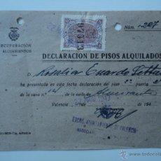 Sellos: VALENCIA. IMPUESTO MUNICIPAL 75 CÉNTIMOS. 1943. SOBRE DECLARACIÓN DE ALQUILER. Lote 53302211