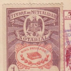 Sellos: 1941 VALENCIA. SELLO TIMBRE MUTUALIDAD NOTARIAL 1PTS PIE IMPRENTA LIT ORTEGA VAL. RARO. EN ESCRITURA. Lote 53323901