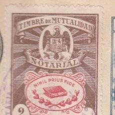 Sellos: 1942 VALENCIA SELLO TIMBRE MUTUALIDAD NOTARIAL 2 PTS PIE IMPRENTA LIT ORTEGA VAL. RARO. EN ESCRITURA. Lote 53324031