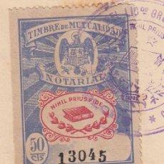 Sellos: 1941 VALENCIA SELLO TIMBRE MUTUALIDAD NOTARIAL 50 CTS PIE IMPRENTA LIT ORTEGA VAL. RARO EN ESCRITURA. Lote 53324258