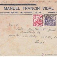 Sellos: SOBRE DE MANUEL FRANCIN VIDAL DE TARRAGONA . Lote 53394439