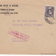 Sellos: SOBRE DEL COLEGIO OFICIAL DE MÉDICOS DE TARRAGONA CON CENSURA MILITAR--VER DORSO---. Lote 53423881