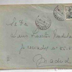 Sellos: SOBRE Y CARTA. PLASENCIA. MADRID.30 DE AGOSTO DE 1951. Lote 53512645