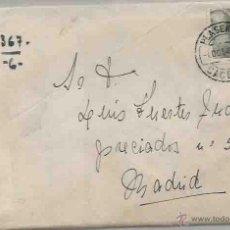 Sellos: SOBRE Y CARTA. PLASENCIA, CÁCERES. MADRID. OCTUBRE DE 1945.. Lote 53513091