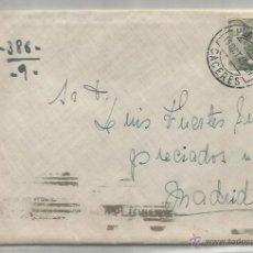 Sellos: SOBRE Y CARTA. PLASENCIA, CÁCERES. MADRID. 19 OCTUBRE DE 1945.. Lote 53567148