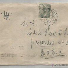 Sellos: SOBRE Y CARTA. PLASENCIA, CÁCERES. MADRID.26 DE JULIO 1945. . Lote 53567259
