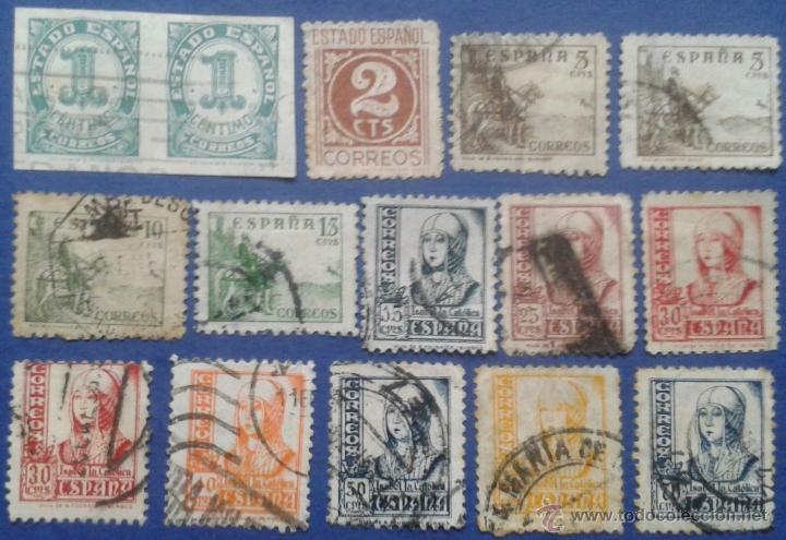 15 SELLOS, USADOS, ESPAÑA, AÑOS 1937-40 (Sellos - España - Estado Español - De 1.936 a 1.949 - Usados)