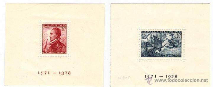 PAREJA DE HOJAS BLOQUE BATALLA DE LEPANTO 1938 (Sellos - España - Estado Español - De 1.936 a 1.949 - Nuevos)