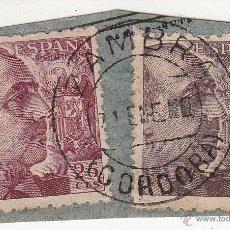 Sellos: S/FRAGMENTO EDIFIL 919 Y 923. MATº ZAMBRA (CORDOBA). Lote 53847328