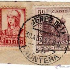 Sellos: S/FRAGMENTO EDIFIL 823 Y 5CS. DIPUTACIÓN DE CADIZ. MATº JEREZ DE LA FRONTERA. 30 ABR. 37. Lote 53848114