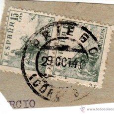 Sellos: S/FRAGMENTO EDIFIL 819 (PAREJA VERTICAL). MATº PRIEGO (CORDOBA). 29 OCT. 40.. Lote 53848209