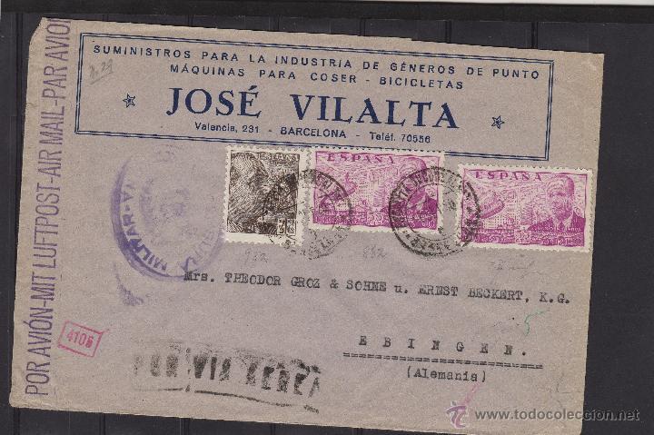 CARTA GROZ-BECKERT . DOBLE CENSURA MILITAR BARCELONA Y NAZI 1940 DEST ALEMANIA MARCA POR VIA AÉREA (Sellos - España - Estado Español - De 1.936 a 1.949 - Cartas)
