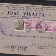 Sellos: CARTA GROZ-BECKERT . DOBLE CENSURA MILITAR BARCELONA Y NAZI 1940 DEST ALEMANIA MARCA POR VIA AÉREA. Lote 53961129