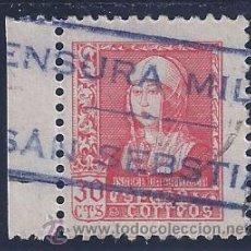 Sellos: EDIFIL 857 ISABEL LA CATÓLICA 1938-1939. (VARIEDAD..MATASELLOS LINEAL CENSURA MILITAR SAN SEBASTIÁN). Lote 54469820
