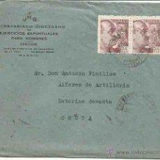 Sellos: SOBRE, SECRETARIO DIOCESANO Y CARTA. CHAMARTÍN DE LA ROSA, MADRID. CEUTA. 20 DE DICIEMBRE 1947.. Lote 86277911