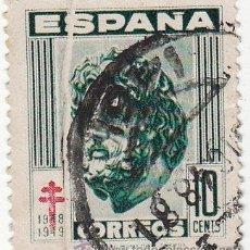 Sellos: EDIFIL 1041. PRO TUBERCULOSOS 1948. FUELLE EN EL PAPEL QUE DEJA SIN IMPRESIÓN UNA TIRA.. Lote 54591643