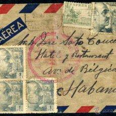 Sellos: SOBRE CENSURADO A CUBA AÑOS 40 - DE CUNTIS (PONTEVEDRA) A LA HABANA - CUÑOS DE DIFERENTES TRANSITOS. Lote 54828792