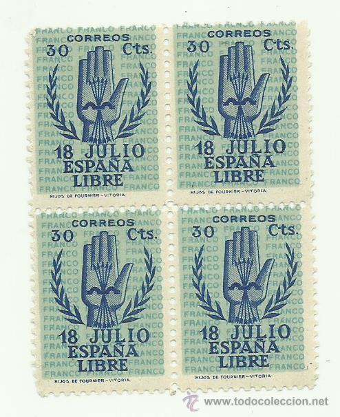 BONITO BLOQUE DE CUATRO DE ESPAÑA DEL Nº 853 DE 1938 ALZAMIENTO NZCIONAL GOMA ORIGINAL PERFECTA (Sellos - España - Estado Español - De 1.936 a 1.949 - Nuevos)