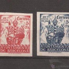 Sellos: 1943 ANIVERSARIO LLEGADA COLON A BARCELONA EDIFIL 49S/50S** MNH VALOR CATAL. 100,00€. Lote 102241946