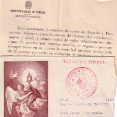Sellos: F13-29-CARTA FRANQUICIA SERVICIO OFICIAL DEL SERVICIO FILATELICO CON TEXTO 1960. Lote 55302547