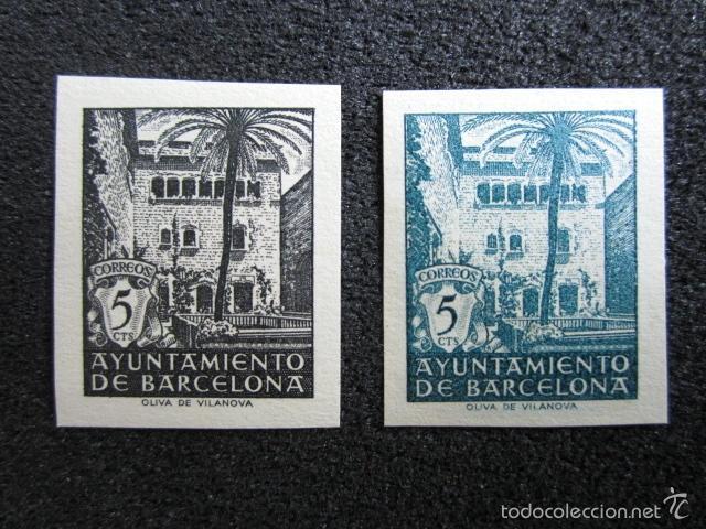 1945. VI ANIVERSARIO DE LA LIBERACIÓN DE BARCELONA. Nº NE27S/NE28S. SIN DENTAR. (Sellos - España - Estado Español - De 1.936 a 1.949 - Nuevos)