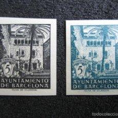 Sellos: 1945. VI ANIVERSARIO DE LA LIBERACIÓN DE BARCELONA. Nº NE27S/NE28S. SIN DENTAR. . Lote 56426530