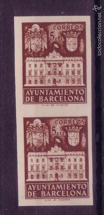 BB6-AYUNTAMIENTO BARCELONA EDIFIL 33. PAREJA SIN DENTAR . LUJO . SIN GOMA (Sellos - España - Estado Español - De 1.936 a 1.949 - Nuevos)