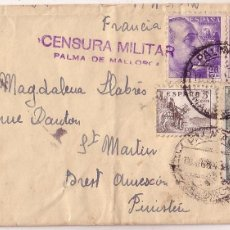 Sellos: F11-2-CARTA PALMA DE MALLORCA - FRANCIA 1945 . CENSURA. Lote 56729679