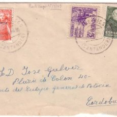 Sellos: F11-42-CARTA PUENTE VIESGO (SANTANDER)- CORDOBA 1949. FRANCO MOTA SOBRECARGA URGENTE. Lote 56730075