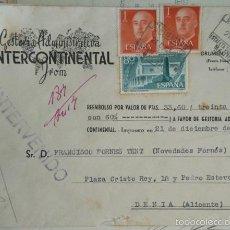Sellos: REEMBOLSO INTERVENIDO DE LA GESTORIA INTERCONTINENTAL CIRCULADO DE MADRID A DENIA ALICANTE 1956. Lote 57123753
