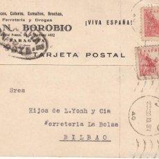 Sellos: TARJETA POSTAL: ZARAGOZA - BILBAO / SELLOS 10 CMS. Lote 57375505