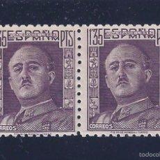 Sellos: EDIFIL 1001 GENERAL FRANCO 1946-1947. PAREJA (VARIEDAD...COLOR Y DESAJUSTE ALTURA). MNH **. LUJO.. Lote 57654416